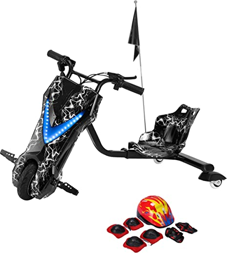 Drifting Electric Scooter Black with Helmet Pad Set, Knee and Elbow Pads 36V
