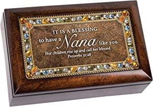 Cottage Garden Blessing to Have Nana Like You Amber Earth Tone Jewelry Music Box Plays On Eagle's Wings