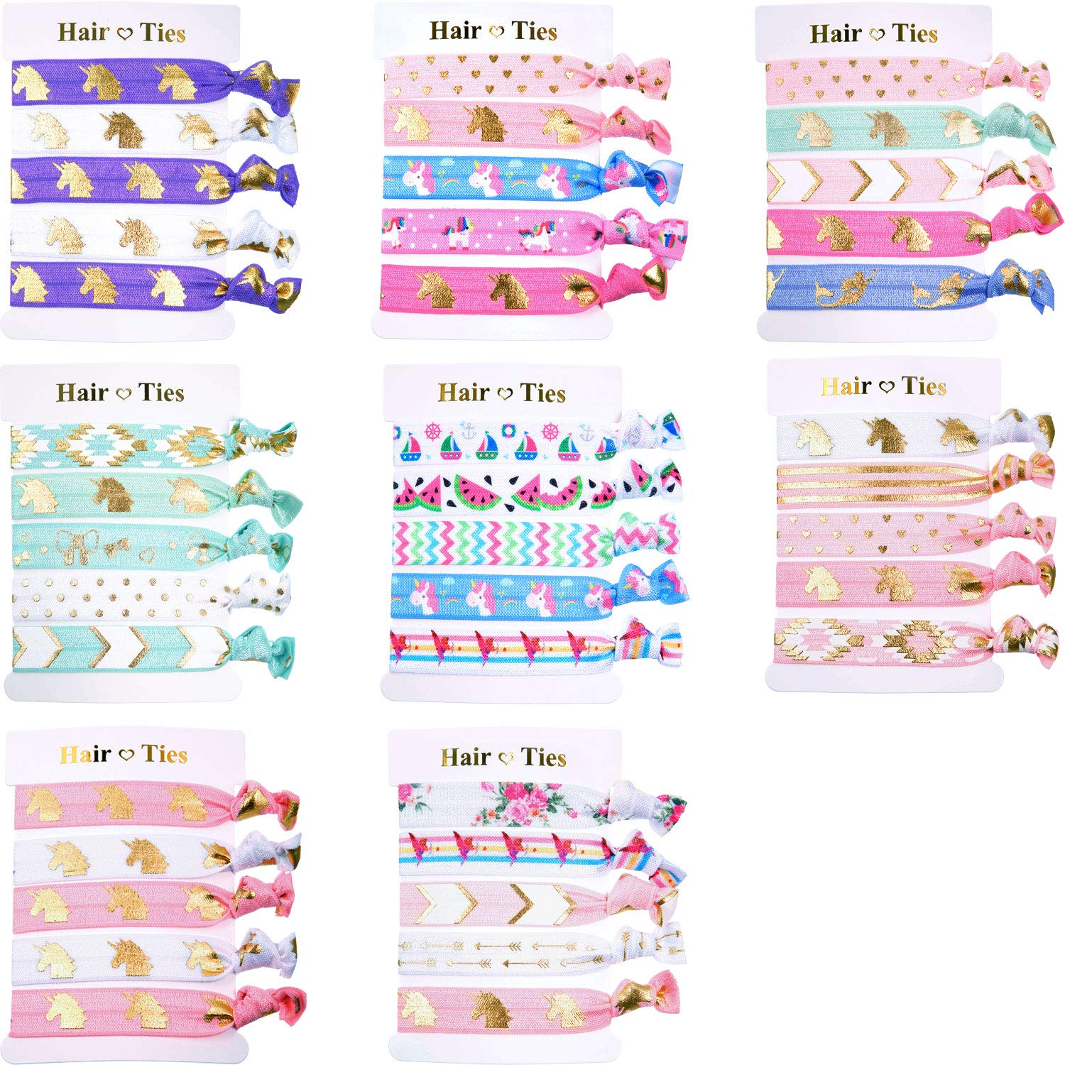BBTO 40 Pieces Unicorn Colorful Hair Ties Bracelet Party Favors Birthday Gifts Supplies, Elastic Ponytail Holders Decorations for Girl and Children