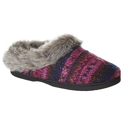Dearfoams Womens Lurex Faux Fur Slippers   Slippers
