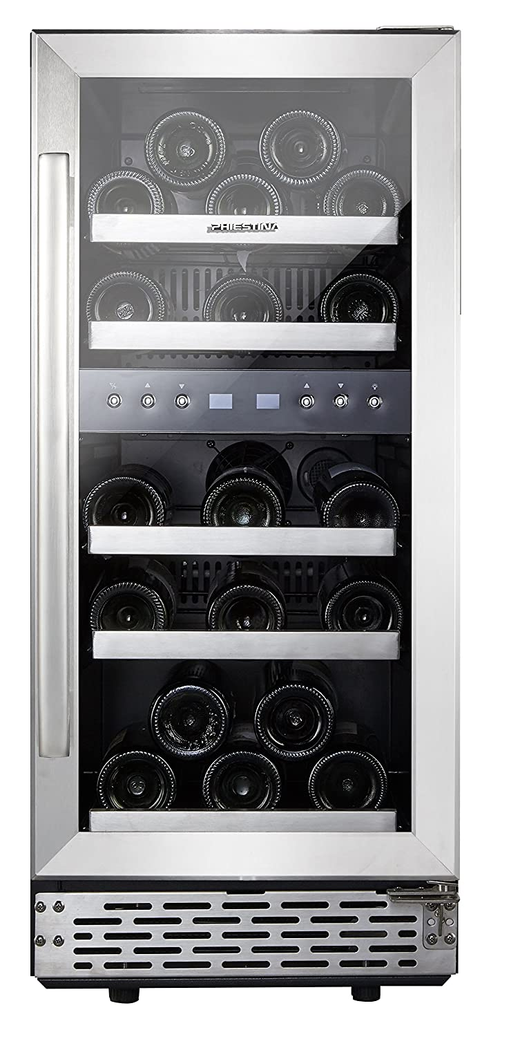 Phiestina 15 Inch Dual Zone Wine Cooler Refrigerator – 29 Bottle Built-in or Free-standing Frost Free Compressor Wine Refrigerator for White and Red Wines with Digital Memory Temperature Control