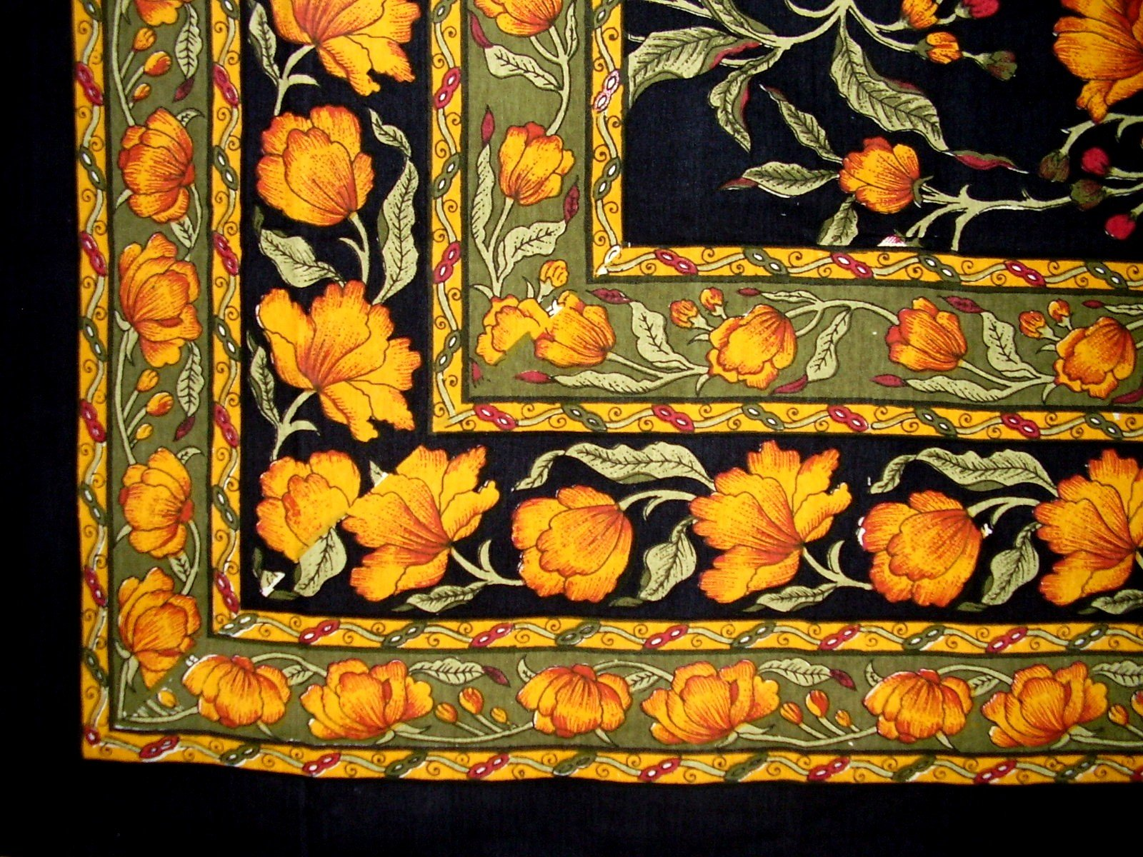 India Arts French Floral Square Cotton Tablecloth 60'' x 60'' Amber on Black by India Arts (Image #2)
