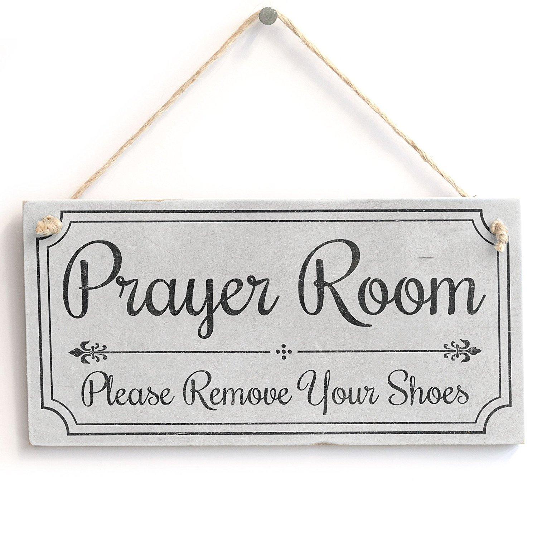Door Sign Shabby Chic Door Sign//Plaque 10 x 5 Meijiafei Prayer Room Please Remove Your Shoes