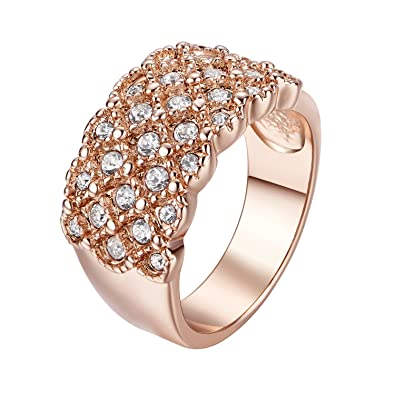 Yoursfs Dainty Wedding Rings for Women 3 Austrian Crystal Band Ring for Her 18ct Rose Gold Plated Fashion Jewellery mF3GYFjk