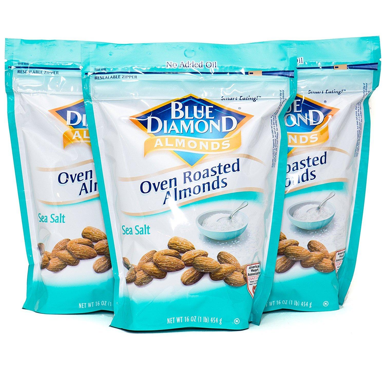 Blue Diamond, Almonds, Oven Roasted, Sea Salt, 16oz Bag (Pack of 3)