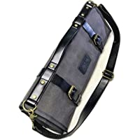 Chef Knife Roll   Knife Bag for Chefs   Waxed Canvas and PU Leather   W/Cotton Pouch Bag and Adjustable Shoulder Strap…