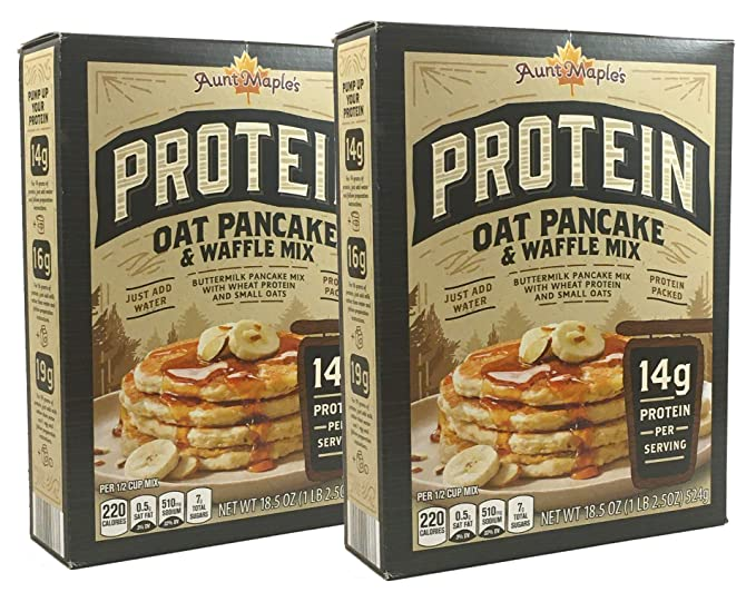 Amazon Com Aunt Maple S Protein Pancake Waffle Mix 18 5 Oz 14g Protein Per Serving Oat Pancake Waffle Mix 2 Pack Grocery Gourmet Food