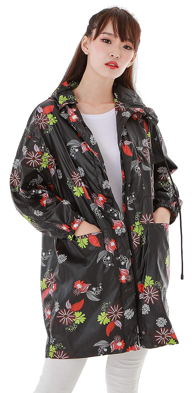Haoohu Womens Lightweight Printed Hooded Waterproof Active Outdoor Sun Protection Rain Jacket