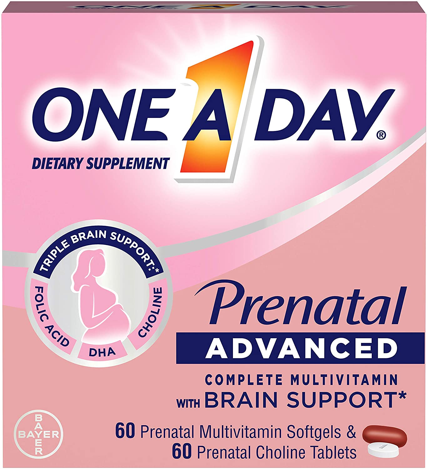 One A Day Women's Prenatal Advanced Complete Multivitamin with Brain Support* with Choline, Folic Acid, Omega-3 DHA & Iron for Pre, During and Post Pregnancy, 60+60 Count