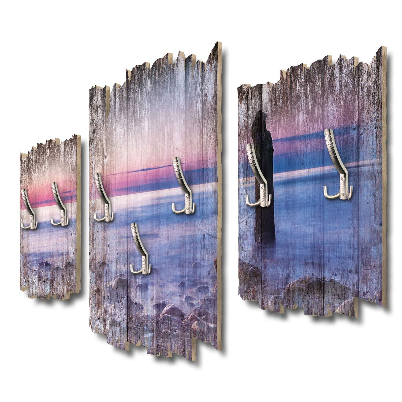 Kreative Feder Sonnenuntergang Ostsee Designer Wandgarderobe Flurgarderobe Wandpaneele 95 x 60 cm aus MDF DTGH094