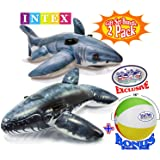 "Intex Inflatable Pool Floats Realistic Great White Shark Ride-On (68""x42"") & Realistic Whale Ride-On (79""x53"") Gift Set Bundle with Bonus ""Matty's Toy Stop"" 16"" Beach Ball - 2 Pack"