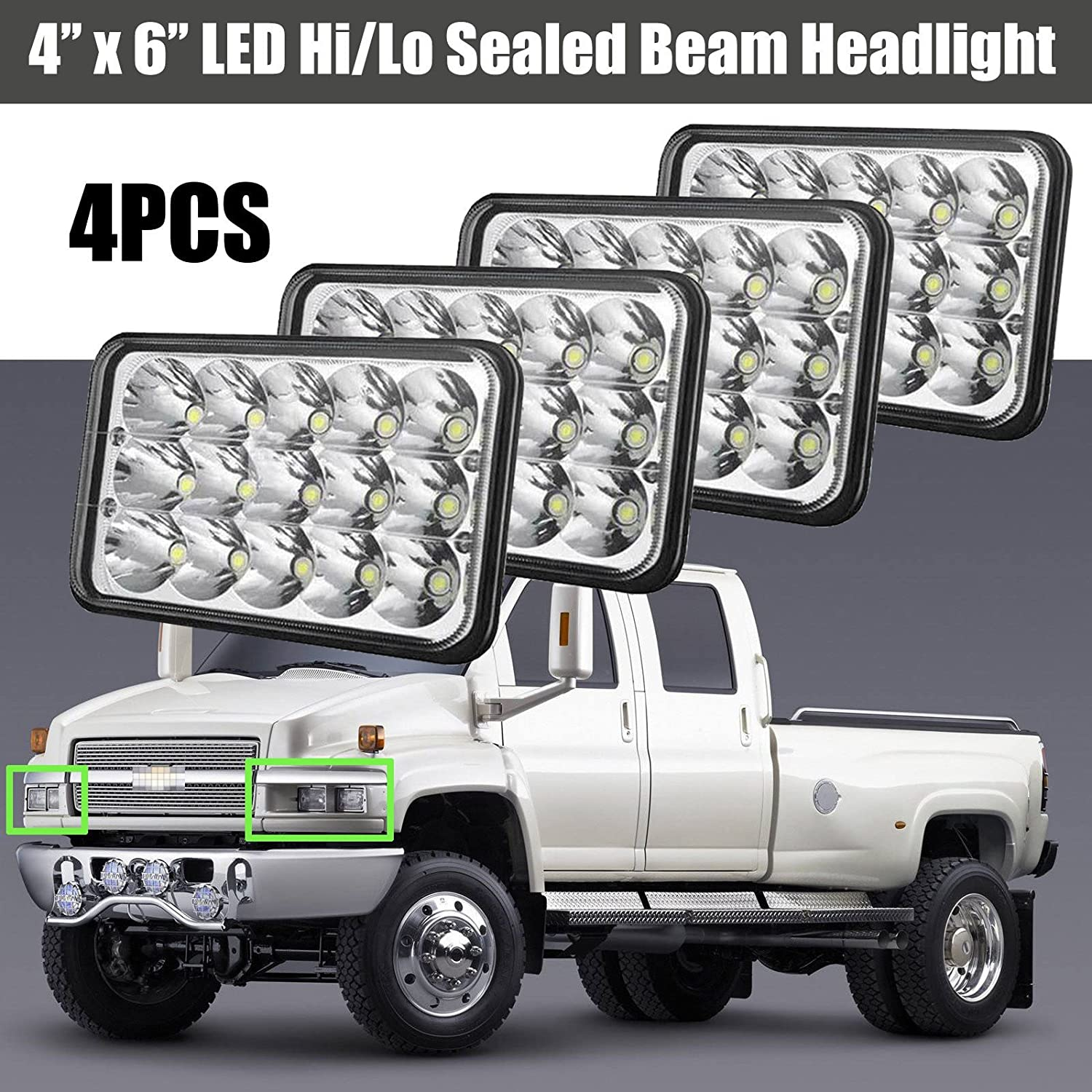 4x6 Led Headlights For Chevrolet Chevy C4500 C5500 2003 Gmc Headlight Wiring Diagram Kodiak Rectangular High Low Sealed Beam Bright Lights To Replace H4651 H4652 H4656 H4666