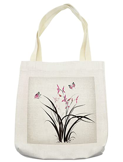 ed95b480a Lunarable Butterfly Tote Bag, Chinese Orchid and Butterfly Exotic Wild  Mysterious Ink Style Print Home