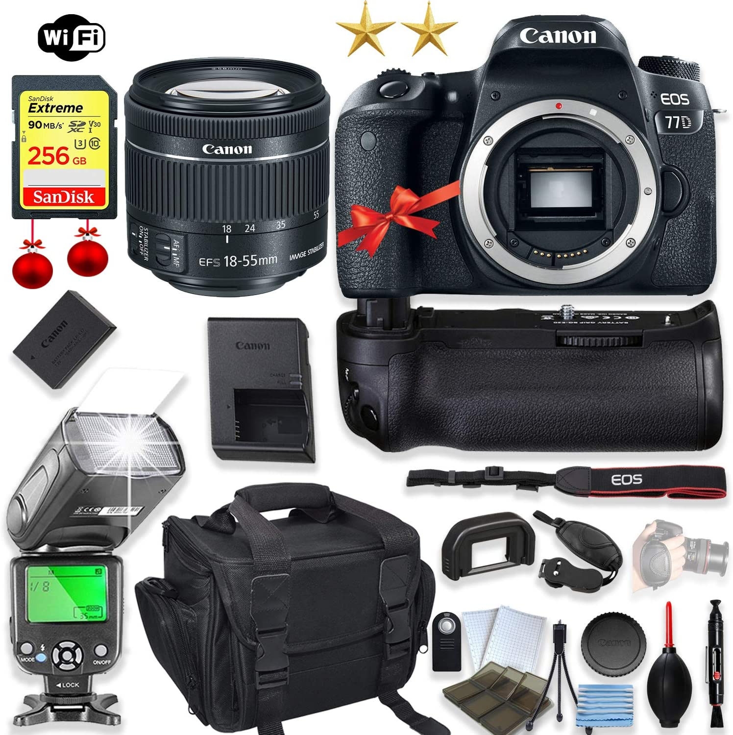 Canon EOS 77D DSLR Camera + Canon EF-S 18-55mm f/4-5.6 is STM Lens + 256GB Sandisk Memory + Power Battery Grip with Holiday Special Bundle (15 Items)
