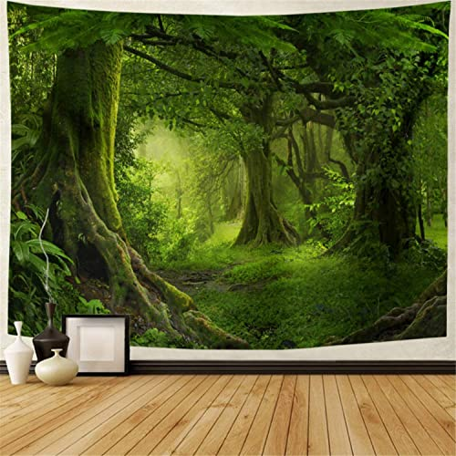 Lahasbja Virgin Forest Tapestry Green Tree in Misty Forest Tapestry Wall Hanging Nature Scenery Wall Tapestry Decor for Living Room Bedroom XL 70.8 92.5 , Green Trees