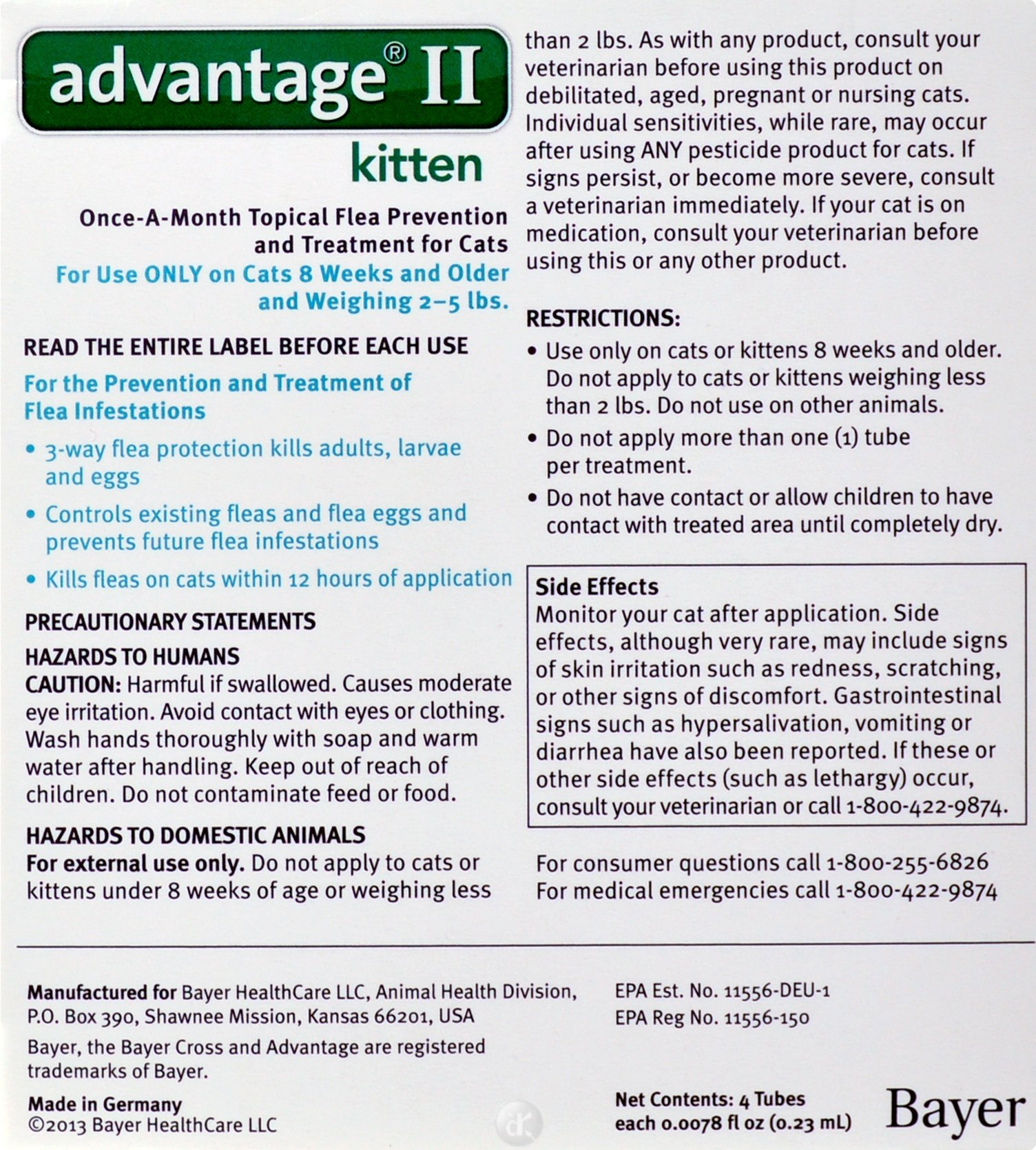 Bayer Advantage II Kitten Flea Treatment for Kittens, 2-5 lb, 4 doses by Bayer Animal Health (Image #1)