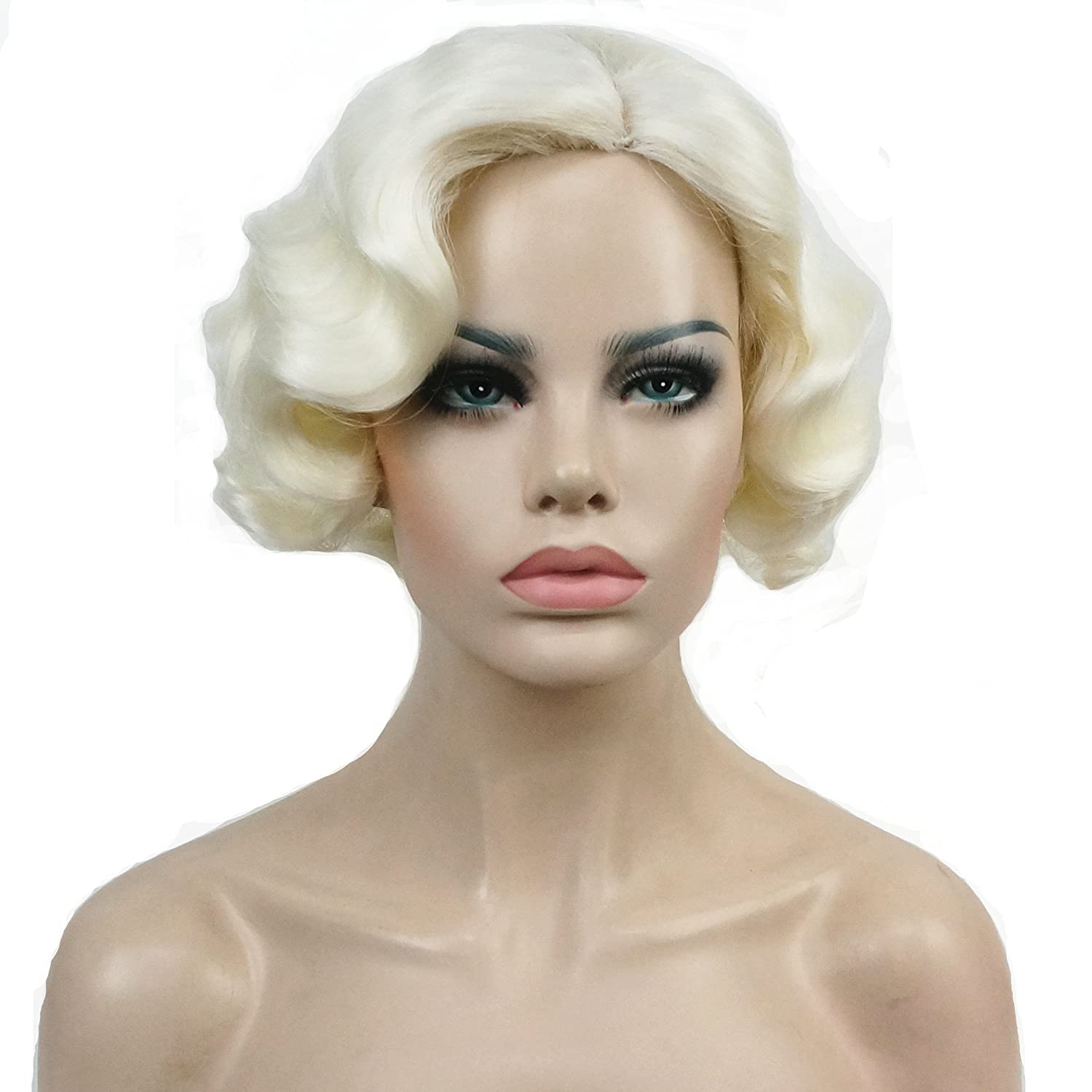 Lydell Vintage Cosplay Party Wig Short Finger Wavy Flapper Hairpiece +Free Wig Cap (613A White Blonde)