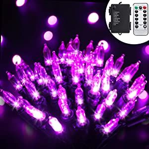 RECESKY 100 LED Battery String Lights with Remote and Timer - 33ft Halloween String Lights for Outdoor, Indoor Decor - Clear Mini Bulb Lighting for Garden, House, Halloween Party Decorations (Purple)