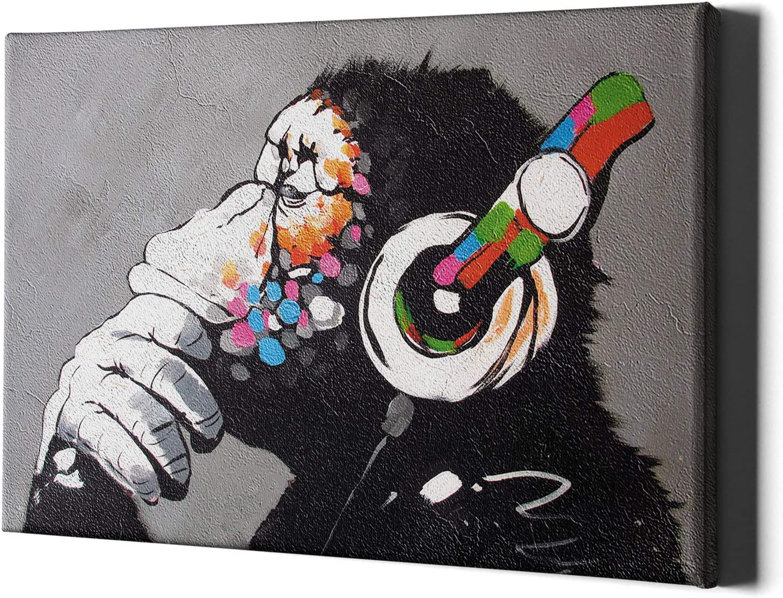 Colourful Paint Art Large Poster /& Canvas Pictures Headphones Monkey Music