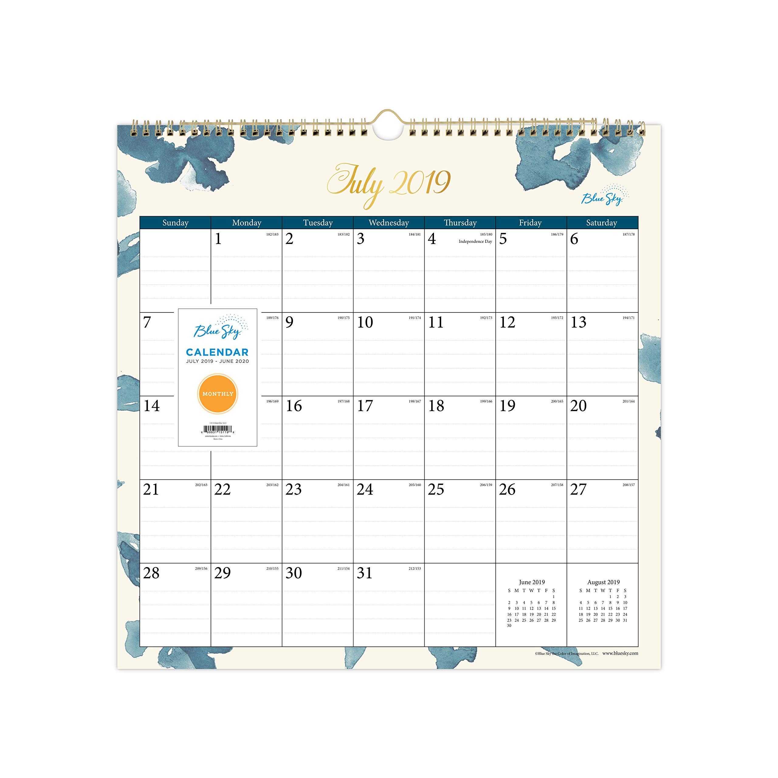 Blue Sky 2019-2020 Academic Year Monthly Wall Calendar, Twin Wire Binding, 12'' x 12'', Bakah Blue by Blue Sky