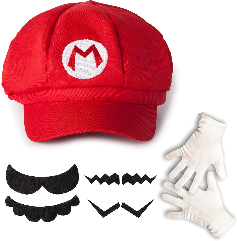 Katara- Juego de Disfraz Super Bros-Gorra de Mario, 4 Bigotes ...