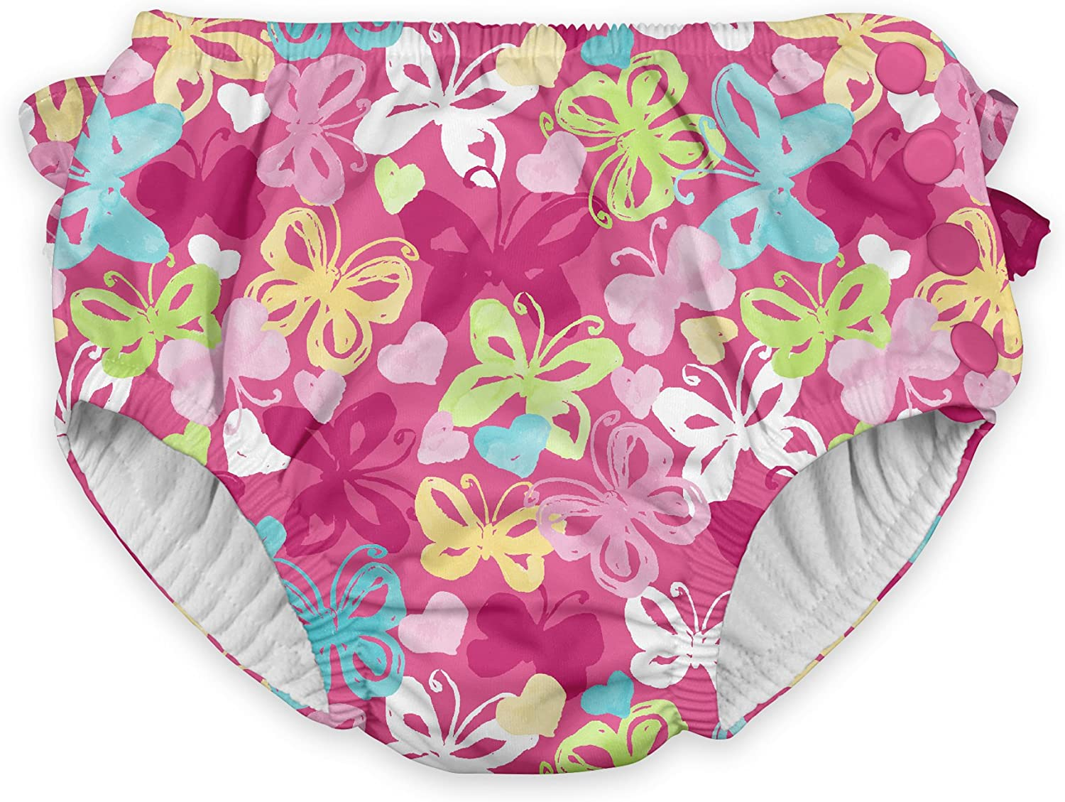 by green sprouts Baby-Girls Ruffle Snap Reusable Absorbent Swimsuit Diaper Swim Diaper i play