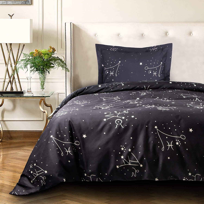 NTBAY Microfiber Duvet Cover Set, 2 Pieces Ultra Soft Zipper Closure Kid's Bedding Set, Twin Size, Black Constellation