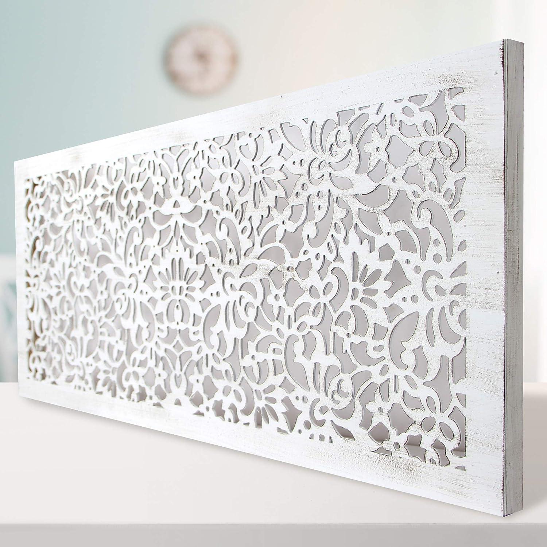-Mandala de Pared Calada, Fabricada artesanalmente en España- Mandala 3D Cuadrada Pintada a Mano- Modelo Mosaico 154 (Blanco Envejecido, 60X120)