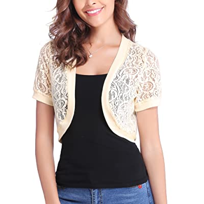 Abollria Women Short Sleeve Floral Lace Shrug Open Front Bolero Cardigan at Women's Clothing store