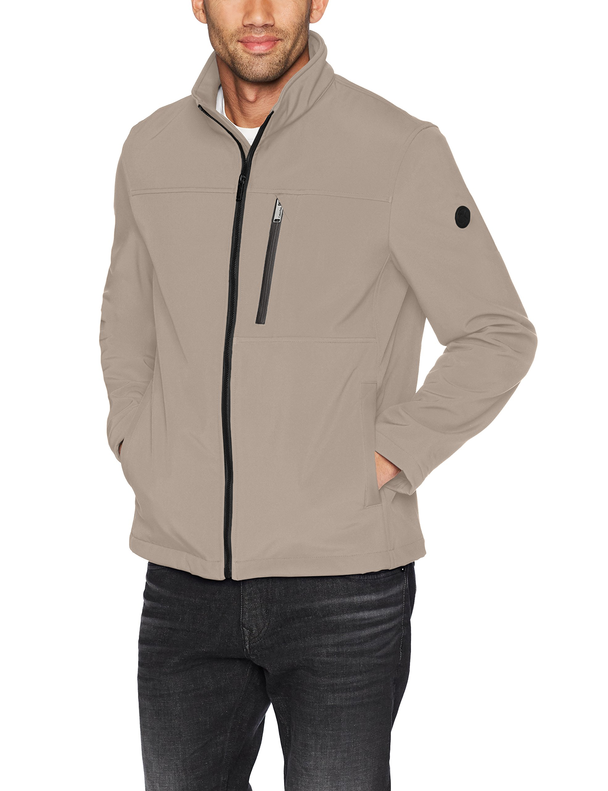 Calvin Klein Men's Soft Shell Jacket with Detail, Desert, Large by Calvin Klein