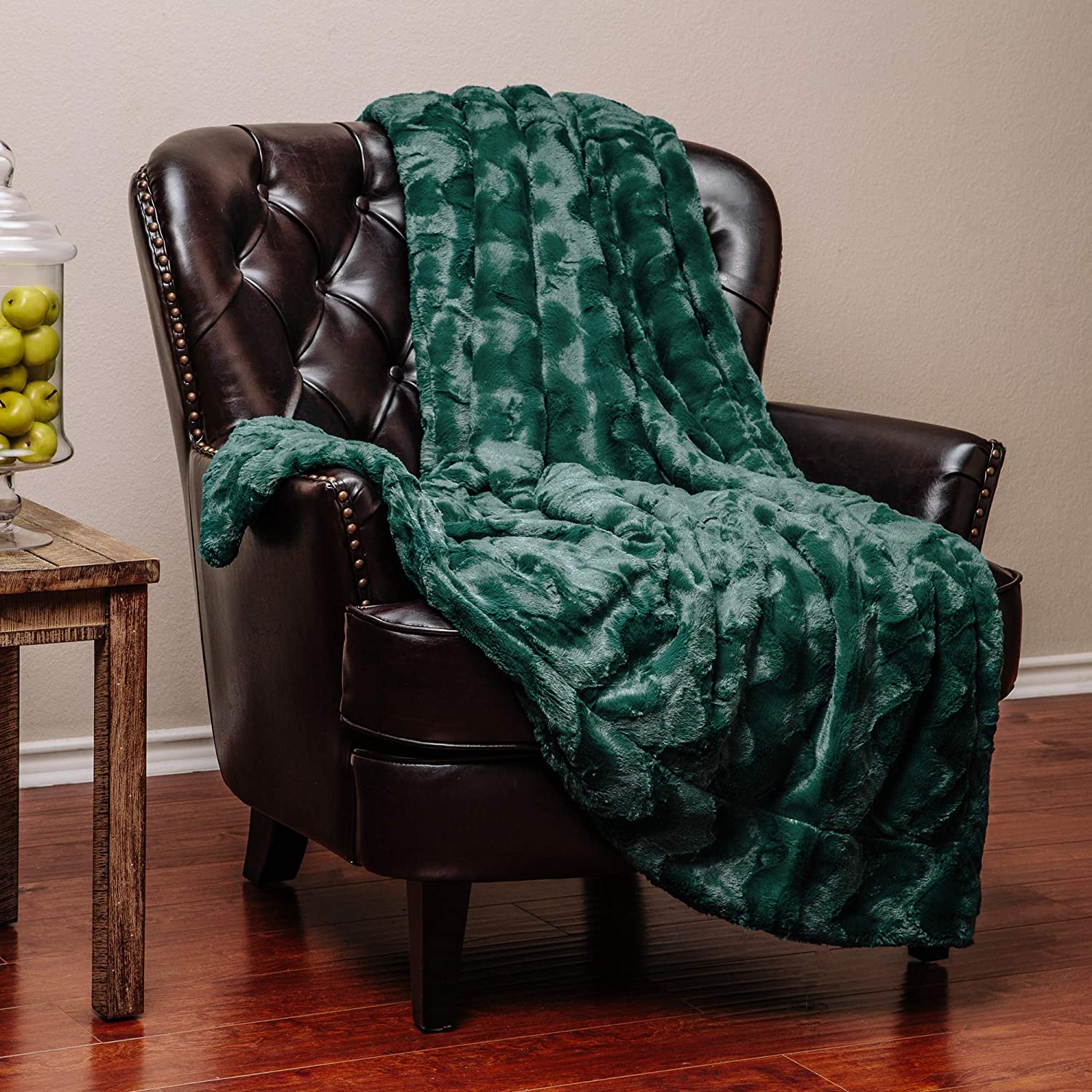 """Chanasya Fur Throw Blanket for Bed Couch Chair Daybed - Soft Wave Embossed Pattern - Warm Elegant Cozy Fuzzy Fluffy Faux Fur Plush Suitable for Fall Winter Summer Spring (50"""" x 65"""") - Teal Blanket"""