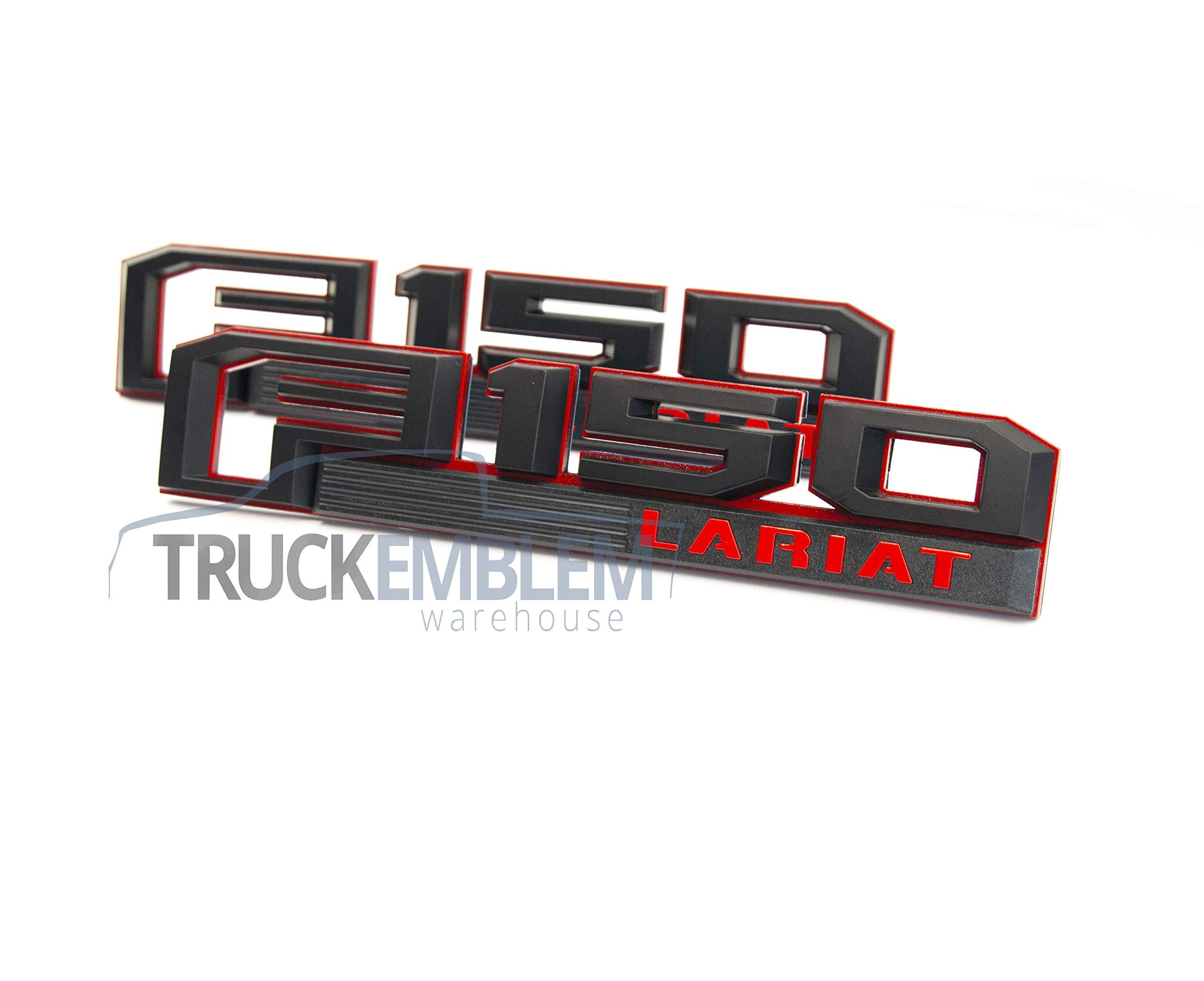 2015-2018 Ford F-150 LARIAT Red Black Fender Tailgate Emblems 3 Piece Kit OEM