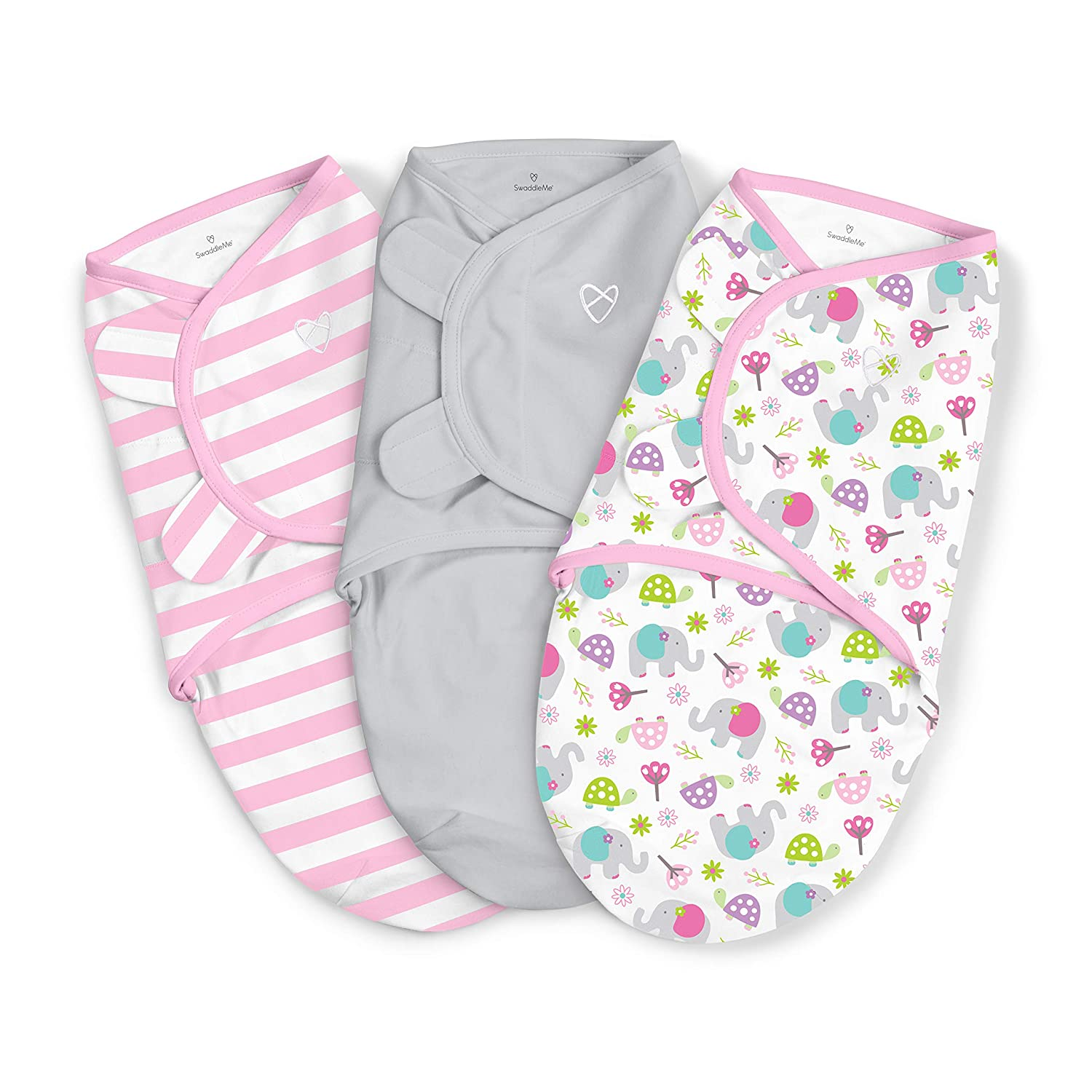 SwaddleMe Original Swaddle,Ellie Flower Small (0-3 Months),Pack of 3