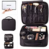 ROWNYEON Makeup Bag Makeup Case Travel Make Up Bag Makeup Organiser Bag Makeup Train Case(Black)