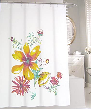 Tahari Home Shower Curtain Floral Bloom Multi Color On White 72quot