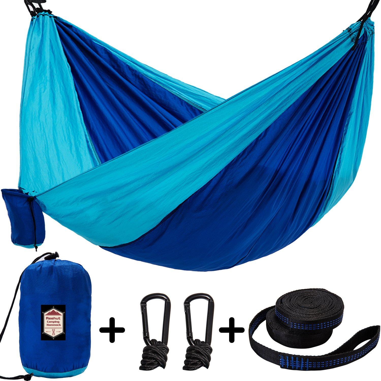 reehutキャンピングハンモックー軽量ナイロンポータブルハンモックループの2ツリーストラップ18 / 10 ft B076X495Y2 Double Camping Hammock, Sky Blue / Blue Double Camping Hammock, Sky Blue / Blue