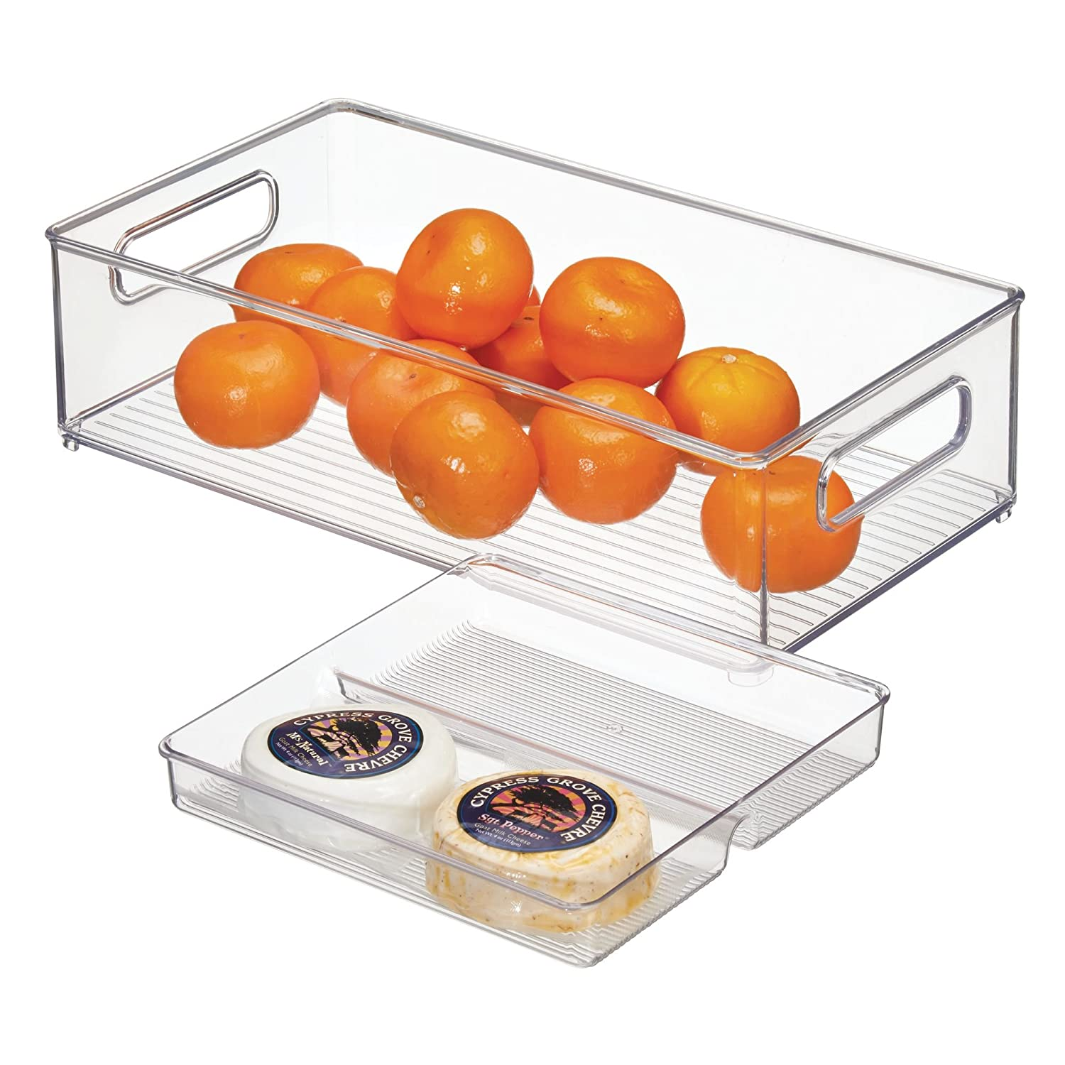 InterDesign Kitchen Storage Bin and Tray – Food Organizer Drawer for Pantry or Refrigerator – 2 Piece Set, Clear