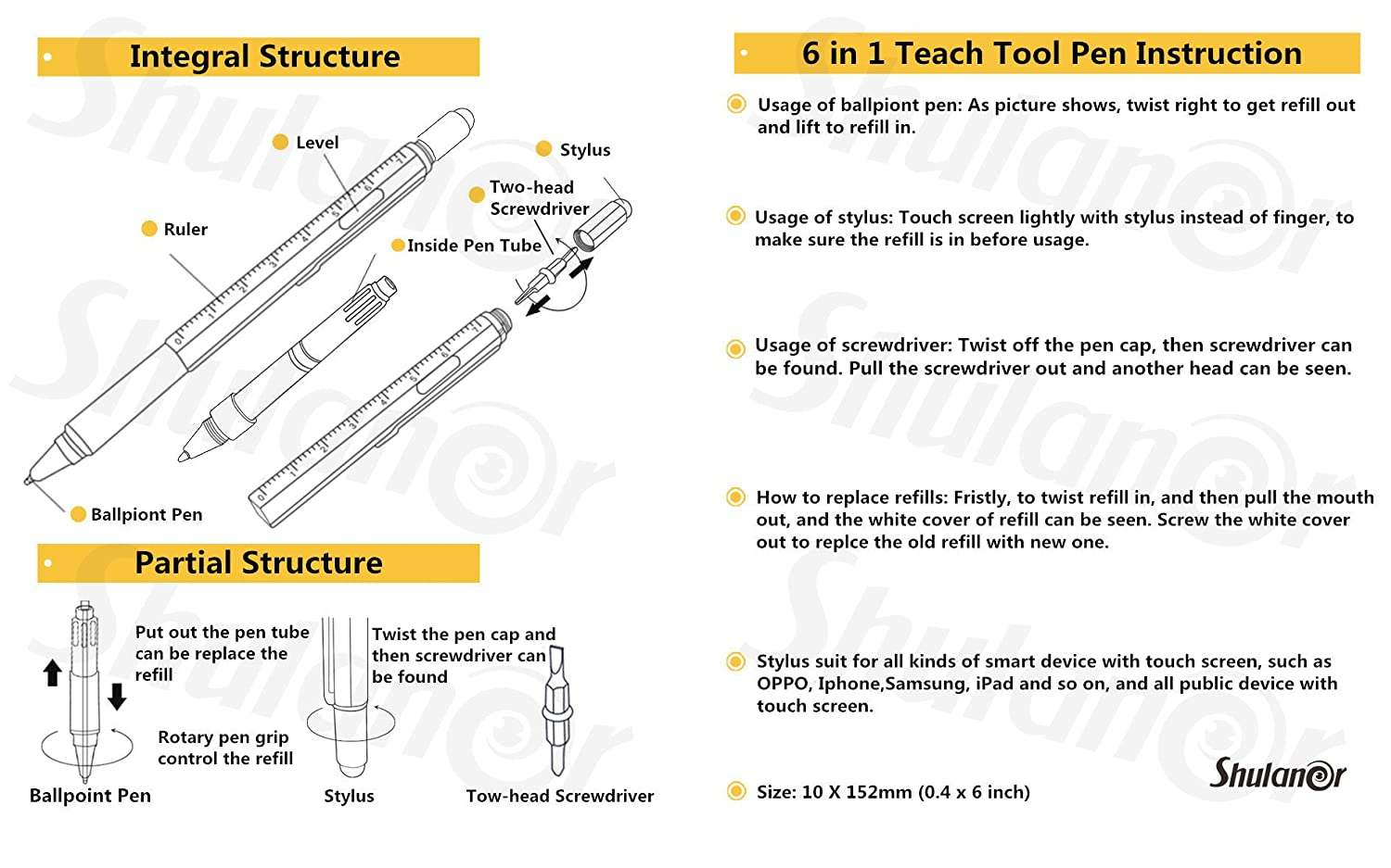 Remarkable Amazon Com Shulaner 6 In 1 Multifunction Tech Tool Ballpoint Pen Wiring Digital Resources Minagakbiperorg