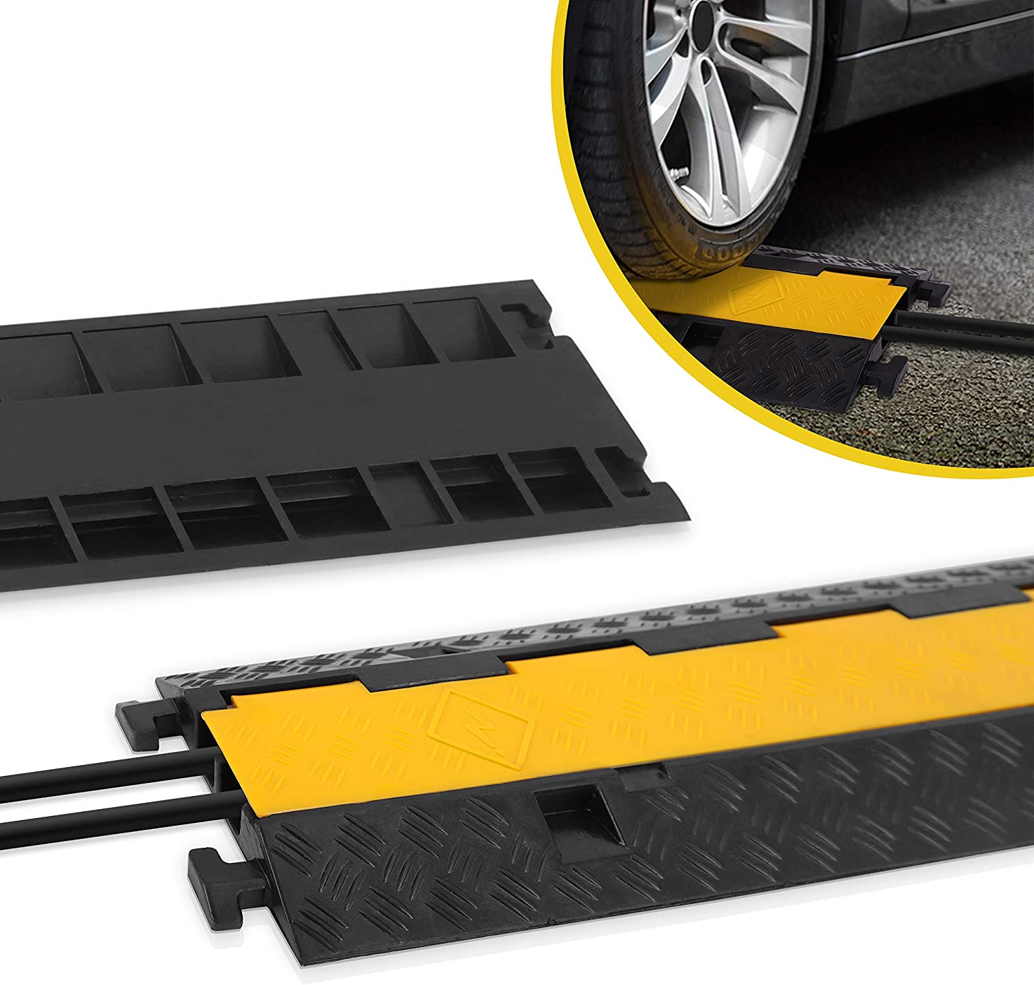 2-Channel Rubber Cable Protector Ramp Cord Hose Bridge High Visible Vehicle