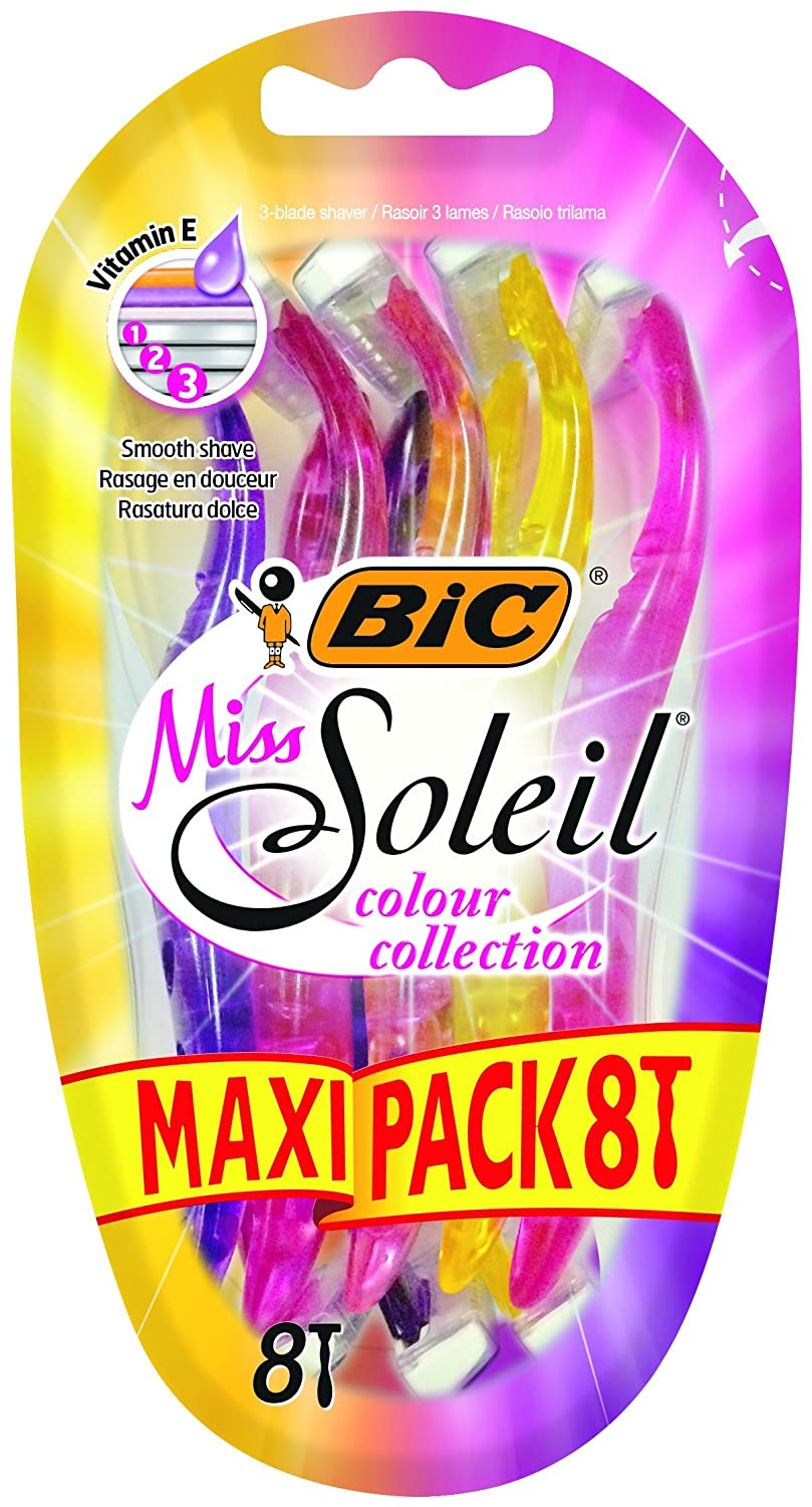 BIC Miss Soleil Colour Collection Lady Razors - Maxi Pack of 8 939117