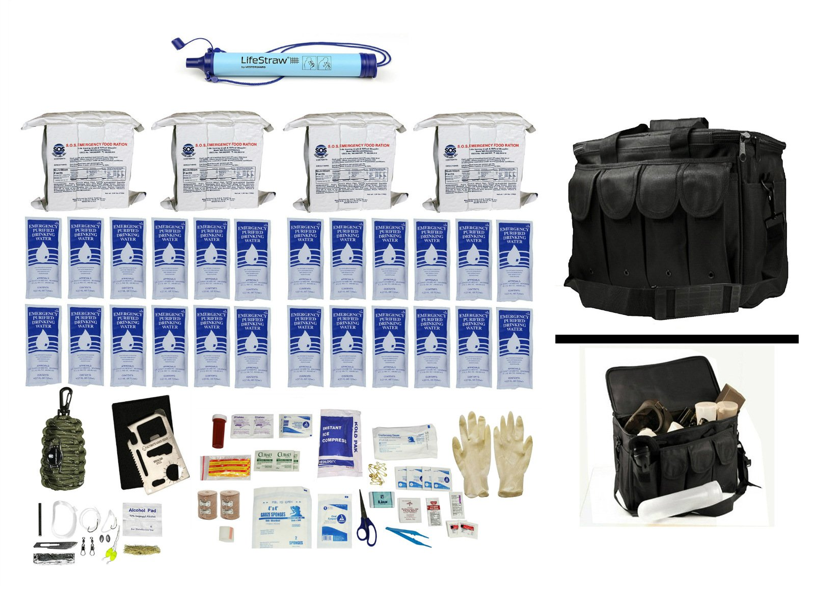 4 Person Supply 3 Day Emergency Bug Out S.O.S. Food Rations, Purified Drinking Water, LifeStraw Personal Filter + Ultimate Arms Gear Duty Gear Bag + Survival First Aid Kit & Multi Tool Set