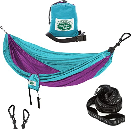 Pawleys Island Camping Hammock with Tree Staps, Storage Bag Carabiner Clips Included