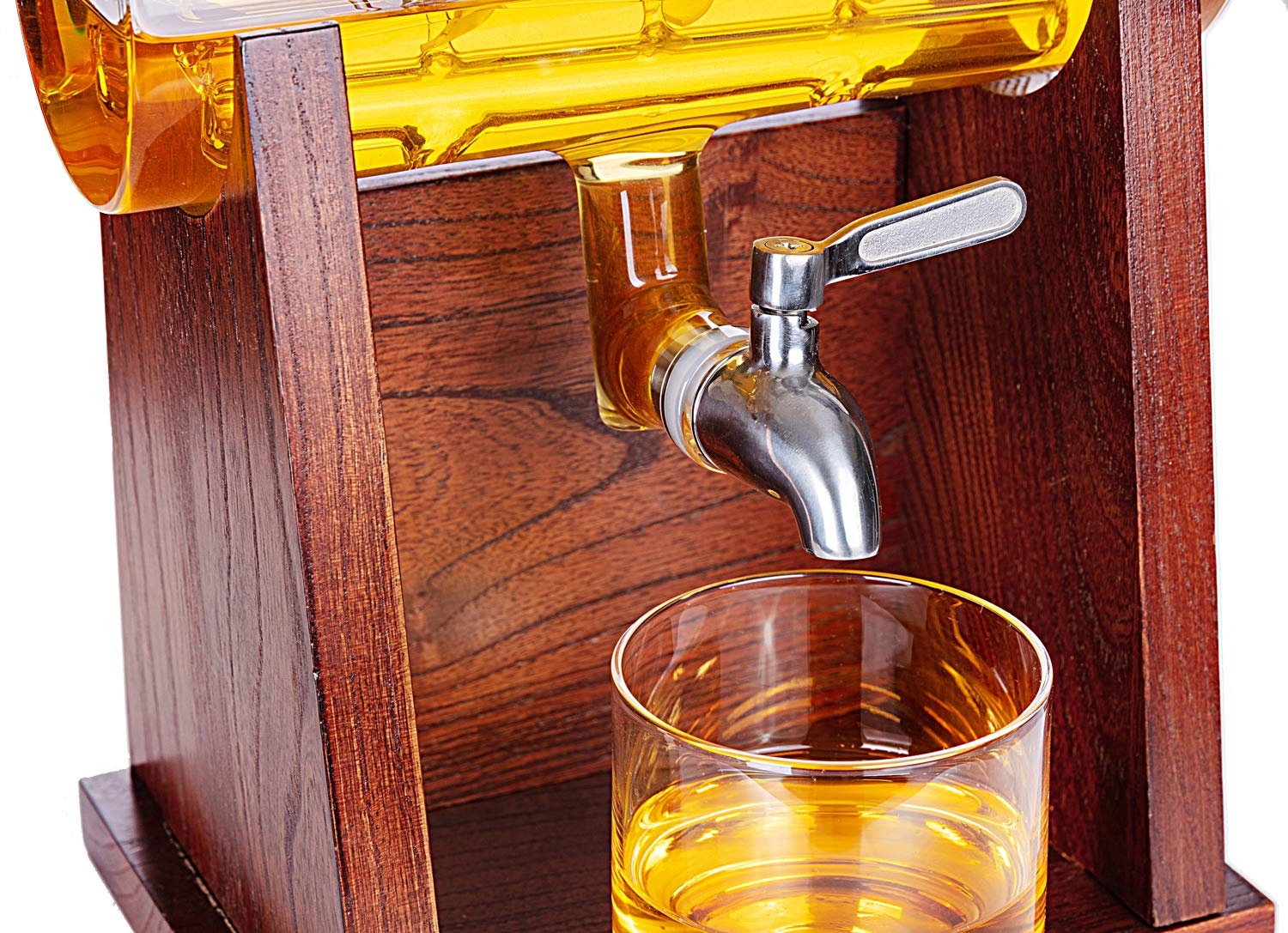 Jillmo Whiskey Decanter Set with 2 Glasses - 1250ml & 42 oz Lead Free Barrel Ship Dispenser with Detachable Wooden Holder Gift for Liquor, Scotch, Bourbon, Vodka, Whisky, Rum & Alcohol by Jillmo (Image #5)