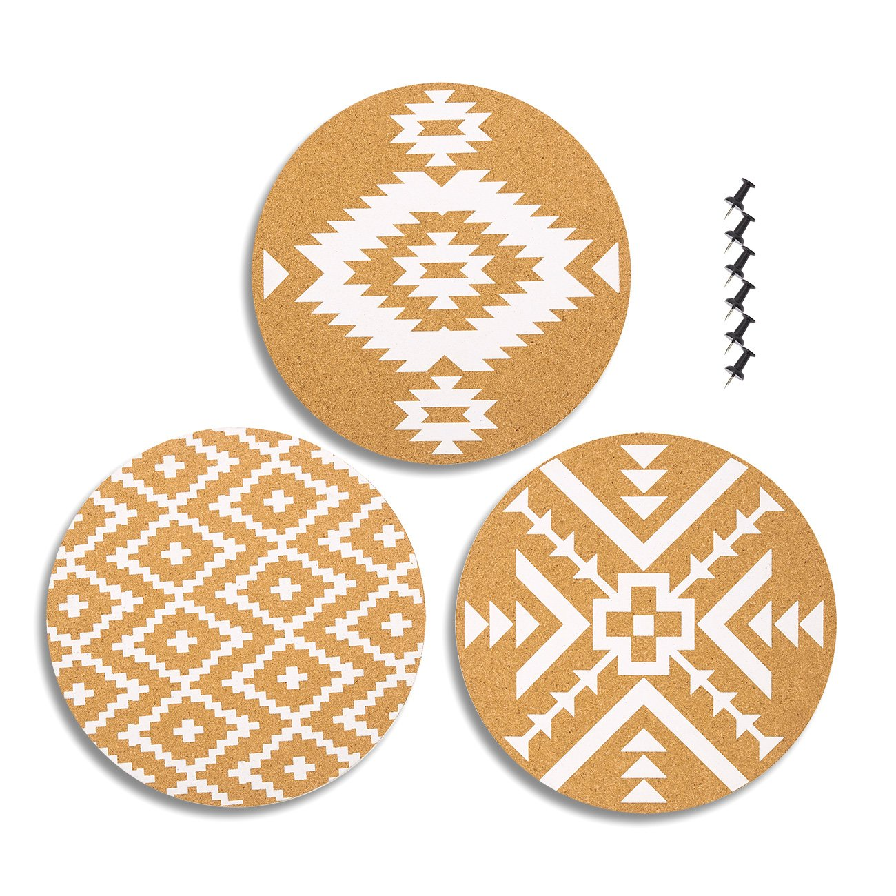 3-Pack Cork Bulletin Boards in 3 Assorted Designs - Decorative Self-Adhesive Round Wall DecorCorkboards with Tribal Prints, 6 Push Pins Included for Pinning Memos and Reminders, 12 x 12 x 0.2 inches Juvale