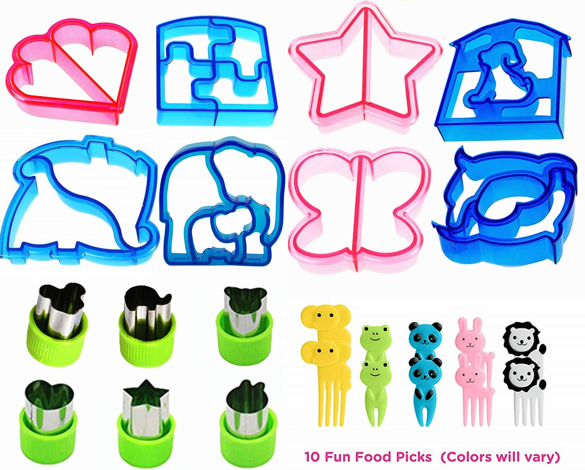 Fun Sandwich and Bread Cutter Shapes for kids - 8 Crust & Cookie Cutters - PLUS 6 Mini Vegetable & Fruit Stamp Set and 10 Food Picks -Turn Vegetables, Fruits, Cheese, and Cookie Into Fun Bites