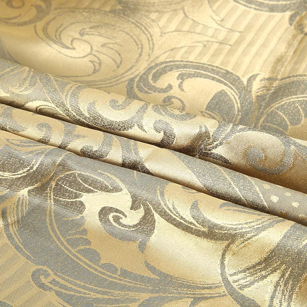 King Surfmall 4 pcs Ensemble de literie Jacquard avec Parure de lit Housse de Couette taie d/'Oreiller Style Royale /él/égant Polyester Couleur Or