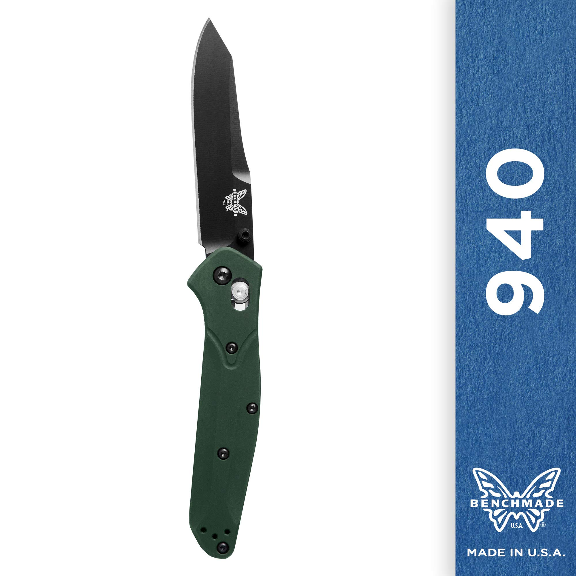 Benchmade - 940 EDC Manual Open Folding Knife Made in USA, Reverse Tanto Blade, Serrated Edge, Coated Finish, Green Handle by Benchmade