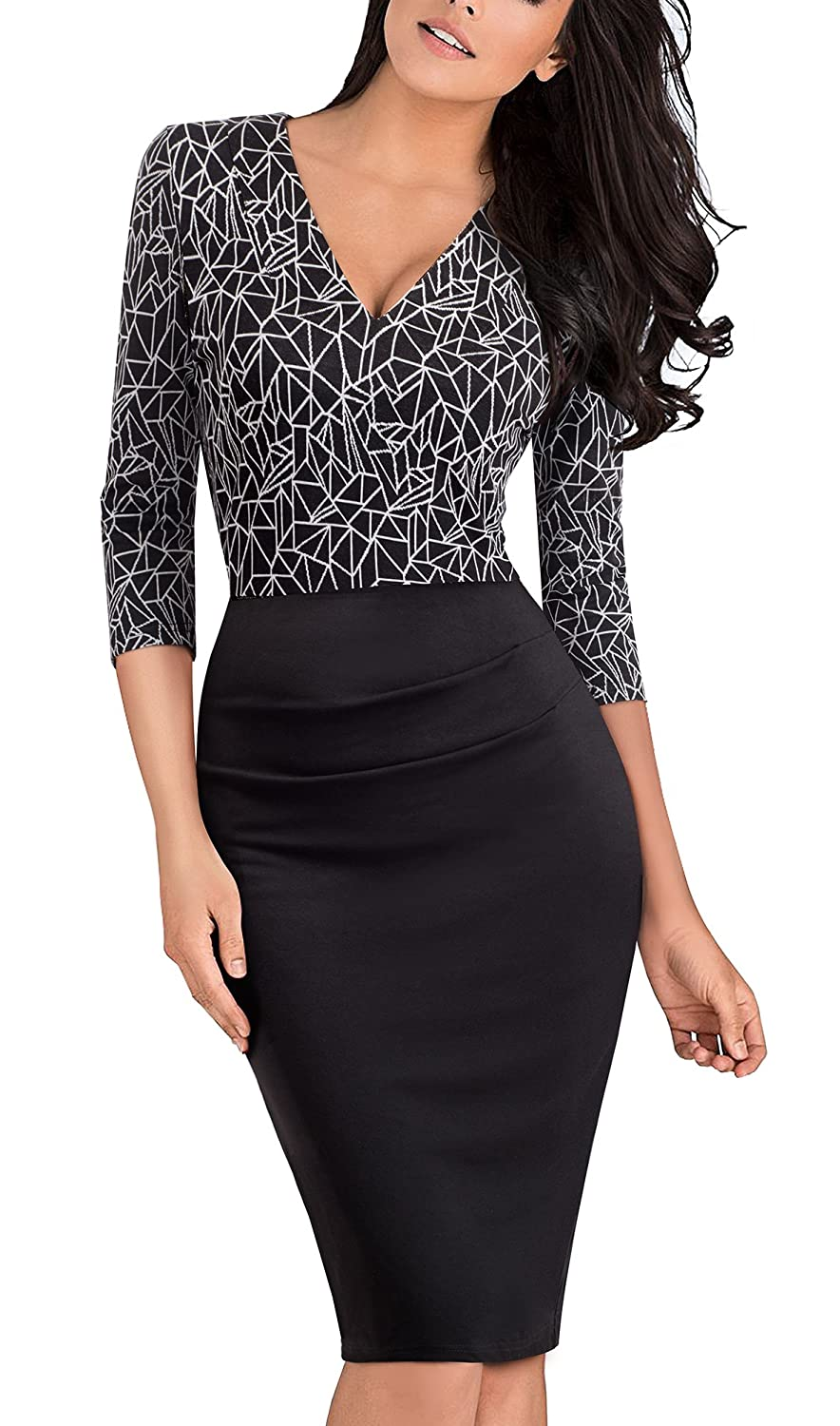 HOMEYEE Women's Elegant V-Neck 3/4 Sleeve Wear To Work Formal Dress B418