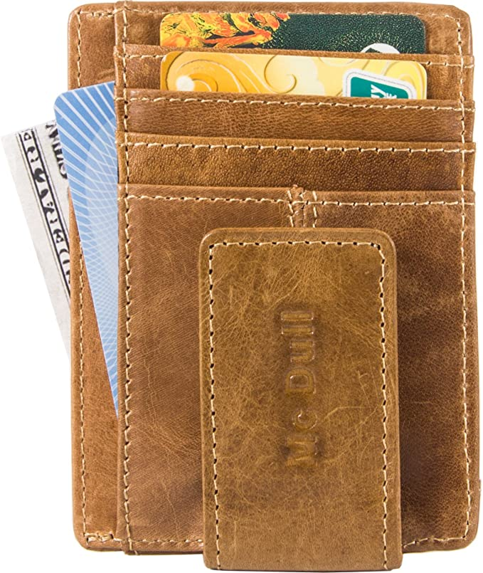 Mens Magnet Money Clip Front Pocket Wallet Genuine Leather Wallet with D-ring and RFID Blocking