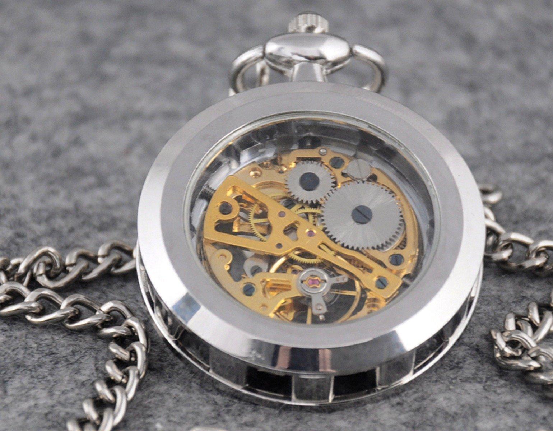 VIGOROSO Mens Classic Steampunk Gold Skeleton Hand Wind Mechanical Pocket Watch by VIGOROSO (Image #2)